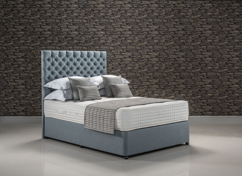 Hotel Sublime bed set upholstered in Faux Linen Sky