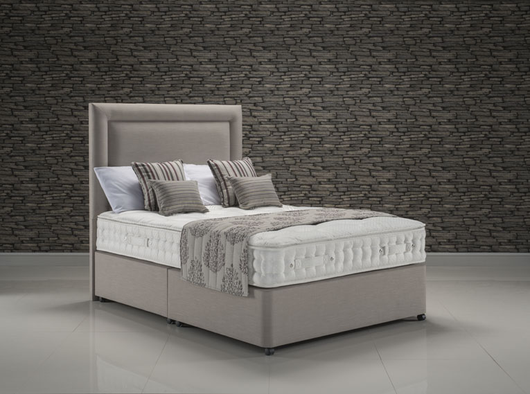 Majesty Pillowtop bed set upholstered in Faux Linen Stone