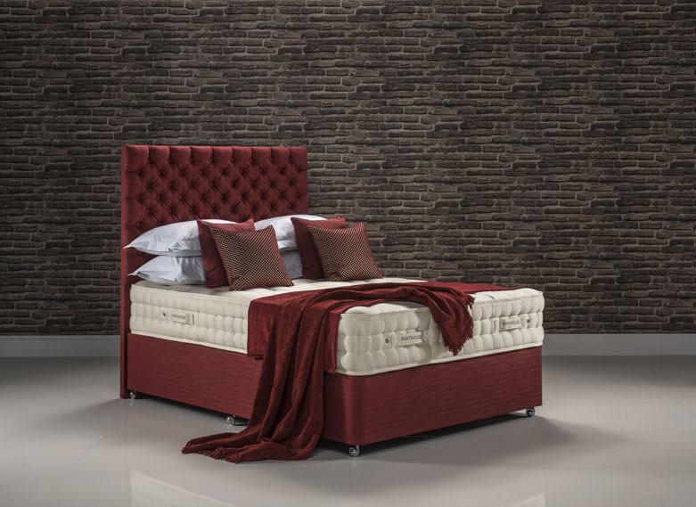 Penthouse bed set upholstered in Faux Linen Terracotta